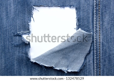 Jeans with holes  and a place for text - stock photo