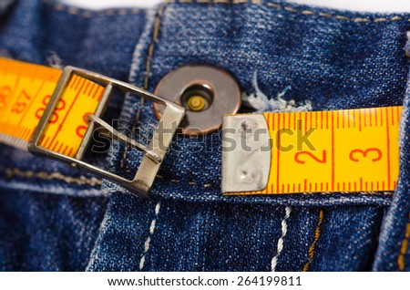 jeans with lose weight  tunnel - stock photo