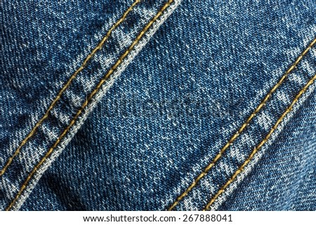 jeans with seams, close-up - stock photo