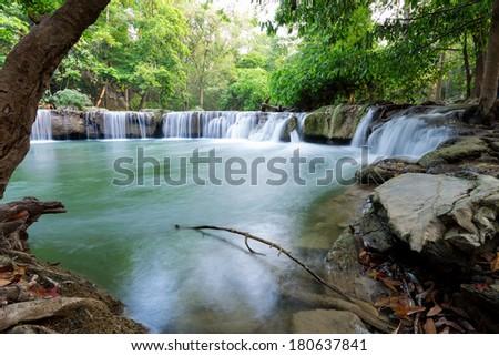 Jed Sao Noi Waterfall in Saraburi, Thailand - stock photo