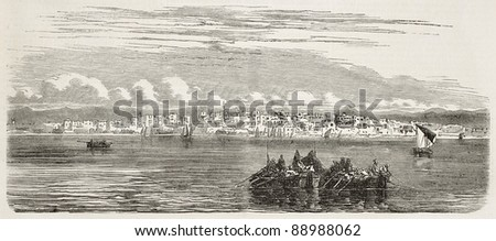 Jeddah old view, Red Sea coast, Saudi Arabia. Created by Worms, published on L'Illustration, Journal Universel, Paris, 1858 - stock photo