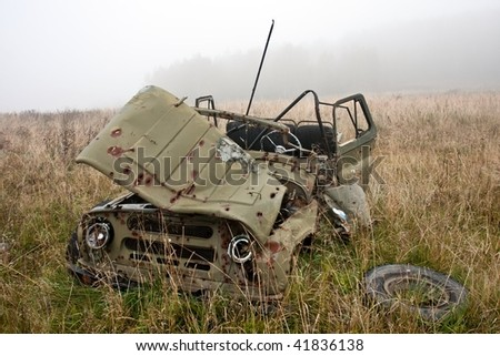 jeep hit by a rocket and many shots