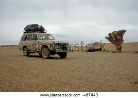 Jeep in the Atacama Desert - stock photo
