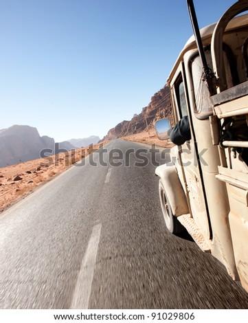 jeep in wadi rum desert. Jordan - stock photo