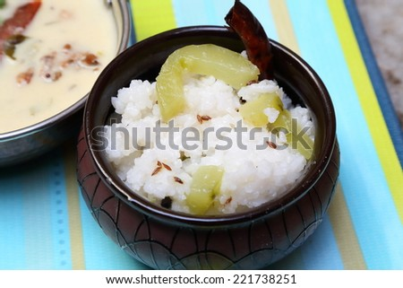 Jeera rice - long-grain basmati rice flavoured with fried cumin seeds - stock photo