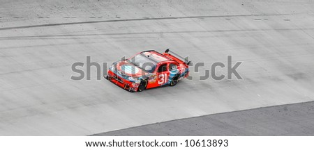 Jeff Burton on the Bristol Tn high bank half mile racetrack. - stock photo