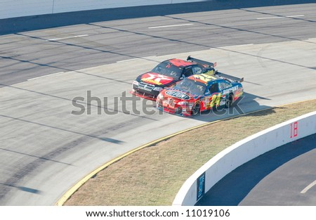 Jeff Gordon & Juan Pablo Montoya during the NASCAR race at Martinsville Va. - stock photo