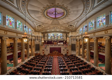 JEFFERSON CITY, MISSOURI - JULY 21: House of Representatives chamber of the Missouri State Capitol on July 21, 2014 in Jefferson City, Missouri - stock photo