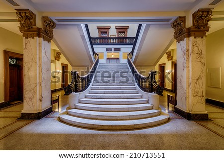 JEFFERSON CITY, MISSOURI - JULY 21: Staircase in the lobby of the Missouri Supreme Court on July 21, 2014 in Jefferson City, Missouri - stock photo