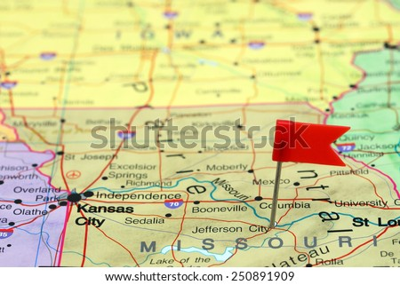 Jefferson City pinned on a map of USA  - stock photo