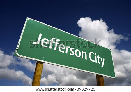 Jefferson City Road Sign with dramatic blue sky and clouds - U.S. State Capitals Series.