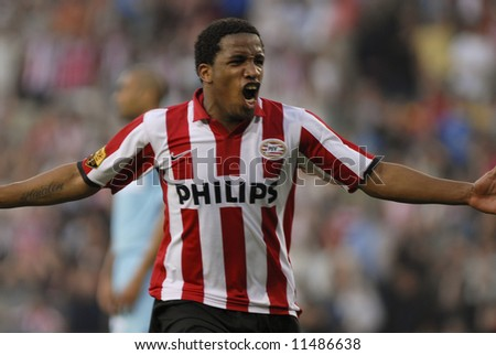 Jefferson Farfan of champion PSV Eindhoven making his first goal in the home match against FC Twente