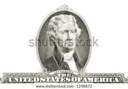 jefferson, isolated from a $2 bill - stock photo