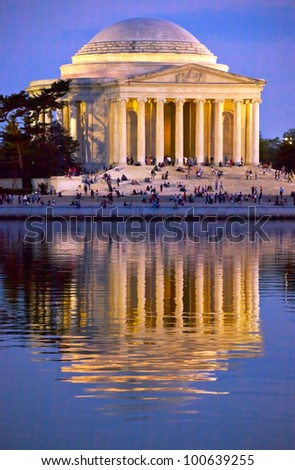 Jefferson Memorial and Tidal Basin in April with Reflection - stock photo