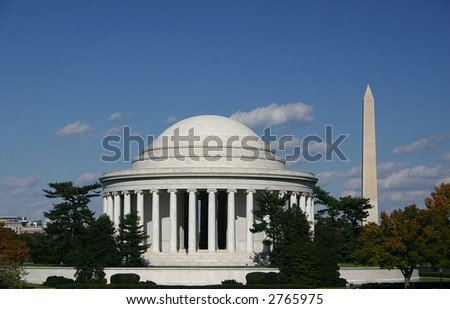 Jefferson Memorial and Washington Monument on a clear Fall morning