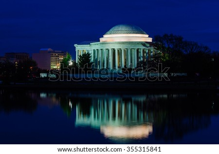 Jefferson Memorial as seen from Tidal Basin - Washington DC, USA - stock photo