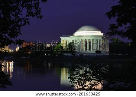 Jefferson Memorial at night - Washington D.C. USA