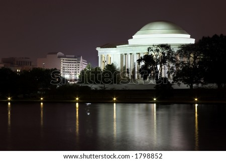 Jefferson memorial at night with reflection