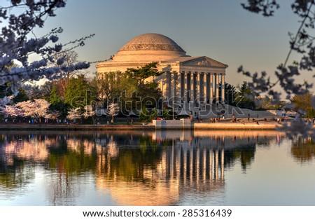 Jefferson Memorial during the Cherry Blossom Festival. Washington, D.C. - stock photo