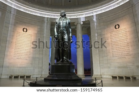 Jefferson Memorial in Washington DC operated by the National Park Service and open to the public - stock photo