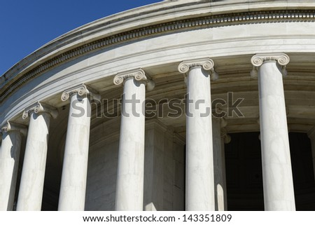 Jefferson Memorial Pillars in Washington DC
