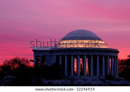 Jefferson Memorial Sunrise at Cherry Blossom Time - stock photo