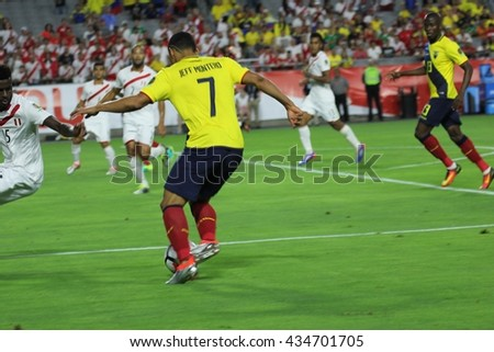 Jefferson Montero midfielder for the Ecuador national football club at University of Phoenix Stadium for the Copa America games in Glendale AZ USA 6-8-16.