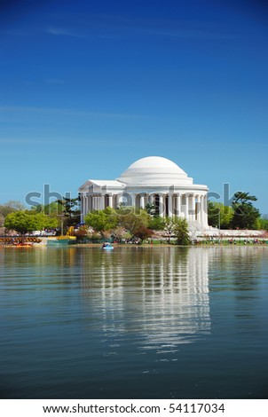 Jefferson national memorial in Washington DC. - stock photo