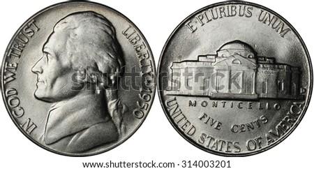 Jefferson Nickel Nineteen Fifty Denver Mint - stock photo
