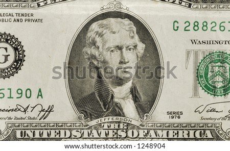 Jefferson on the $2. another available isolated on white.