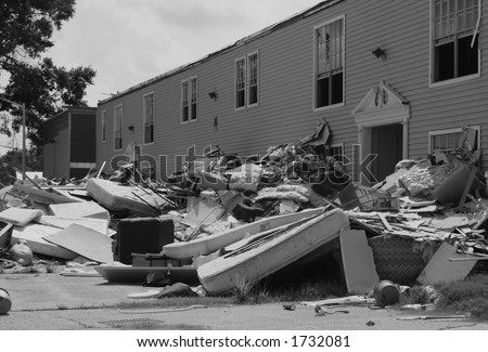 Jefferson Parish, Louisiana.Third week of August,2006. Nearly one year anniversary post Katrina. - stock photo
