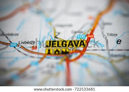 Jelgava On Map Stock Photo 722533681 Shutterstock