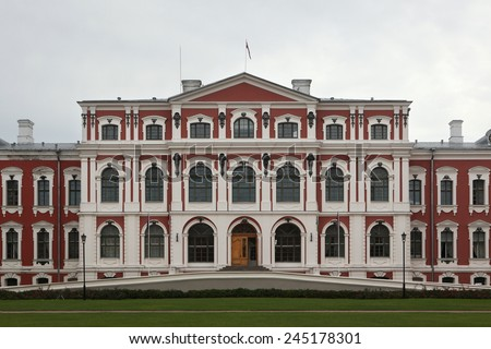 Jelgava Palace also known as Mitava Palace designed by Russian Baroque architect Bartolomeo Rastrelli in Jelgava, Latvia. - stock photo