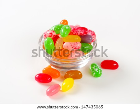Jelly beans in a glass bowl - stock photo