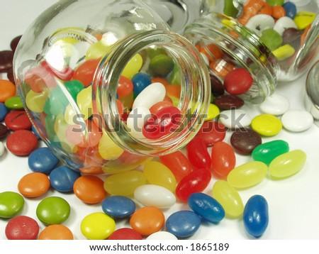 jelly beans whit cristal pot - stock photo