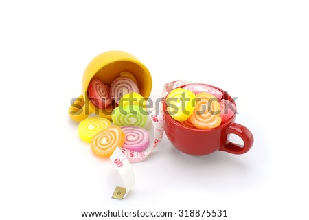Jelly candy sugar  in cup - stock photo