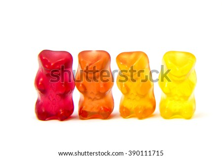 Jelly colorful bear isolated on white.