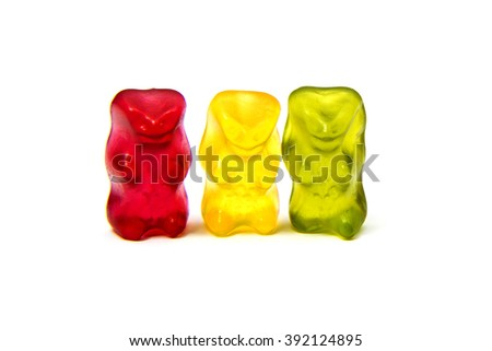Jelly colorful bear isolated on white. - stock photo