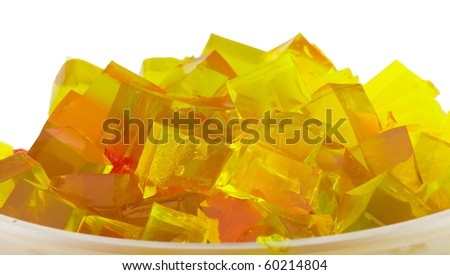 jelly cubes in bowl - stock photo