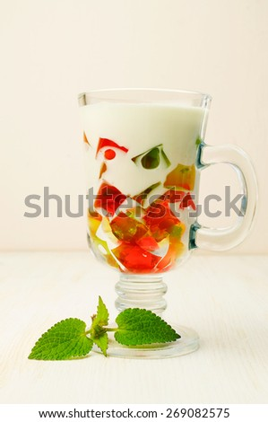 Jelly dessert in a glass with mint