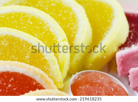 Jelly fruit candies.