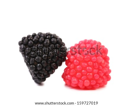 Jelly fruits in form of berries close up. Isolated. On a white background