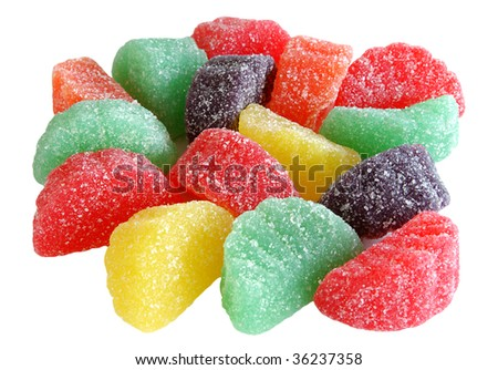 jelly sugar candies isolated on white version - stock photo
