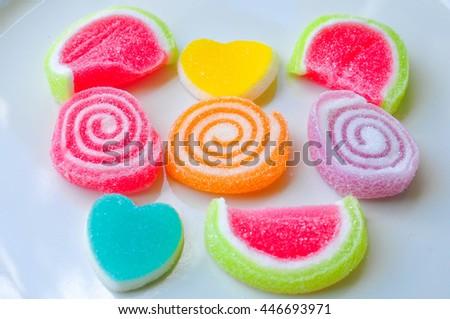 Jelly sweet,  candy dessert colorful on sugar. - stock photo