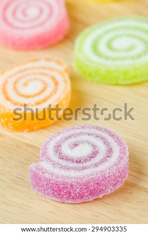 Jelly sweet, flavor fruit, candy dessert colorful. - stock photo