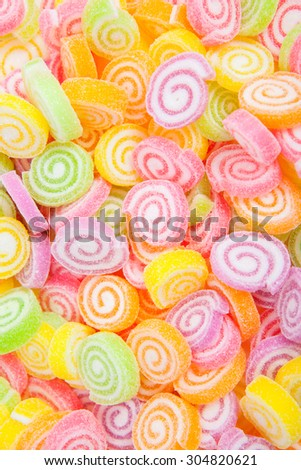 Jelly sweet, flavor fruit, candy dessert colorful on white paper background - stock photo