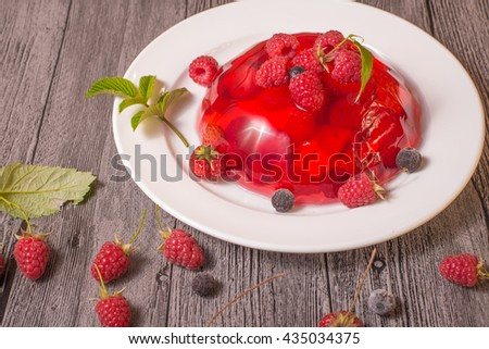 Jelly with strawberries and raspberries - stock photo