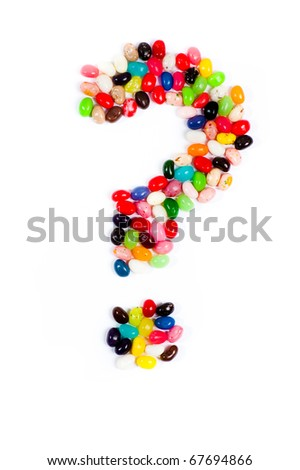 Jellybean alphabet on white background - stock photo