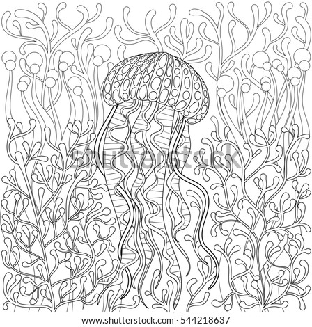 Jellyfish Animal Coloring Pages. Jellyfish  medusa in zentangle style Hand drawn Sea animal water among seaweed for Medusa Zentangle Style Drawn Stock Illustration