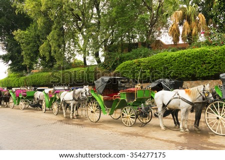 Jemaa el-Fnaa square - Horse drawn carriages for tourists, Morocco, Africa - stock photo